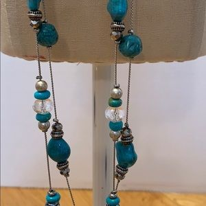 Two Strand Turquoise Beaded Long Silver Necklace